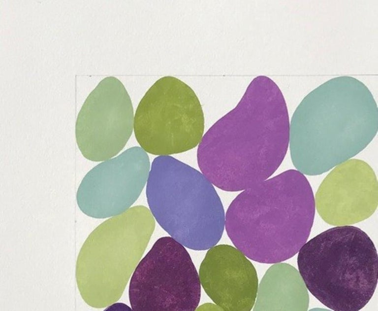 Cercis Spring III, Work on Paper, Gouache, Purple, Green, Framed, Calm - Painting by Nancy Simonds