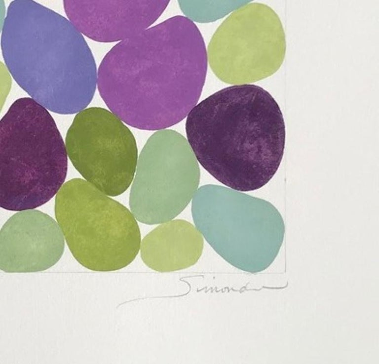 Cercis Spring III, Work on Paper, Gouache, Purple, Green, Framed, Calm - Contemporary Painting by Nancy Simonds