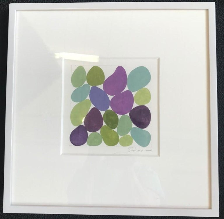 Cercis Spring III, Work on Paper, Gouache, Purple, Green, Framed, Calm - Gray Abstract Painting by Nancy Simonds
