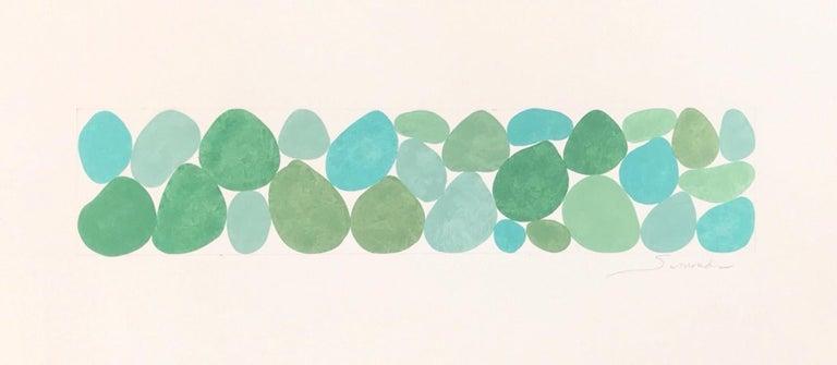 Nancy Simonds Abstract Drawing - Fog Greens, Work on Paper, Gouache, Green, Framed, Calming, Original Art