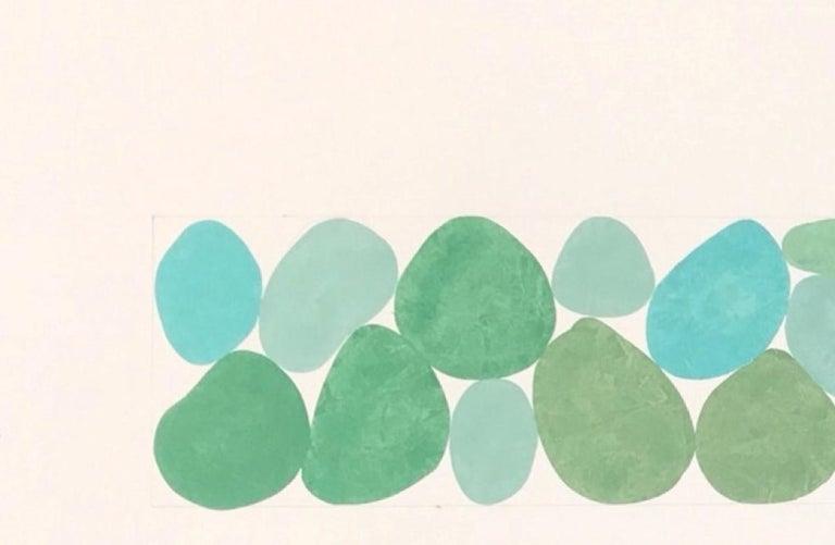 Fog Greens, Work on Paper, Gouache, Green, Framed, Calming, Original Art - White Abstract Drawing by Nancy Simonds