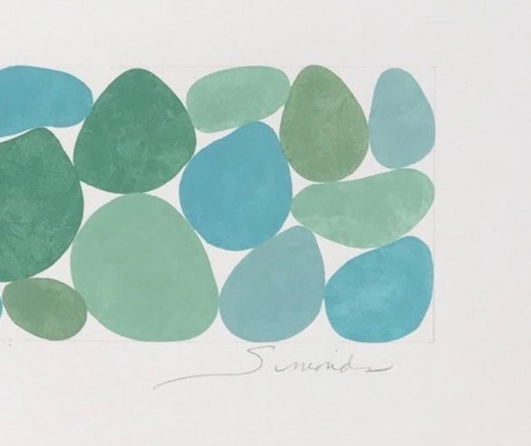 """Fog Greens is a unique Gouache on Paper artwork.  It is 12 x 23 inches and framed.   It is a horizontal artwork.   According to Boston Artist, Nancy Simonds: """"I make large-scale abstract gouache paintings on paper and panel.  In each of my OVOID,"""