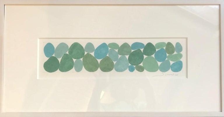 Fog Greens, Work on Paper, Gouache, Green, Framed, Calming, Original Art For Sale 1