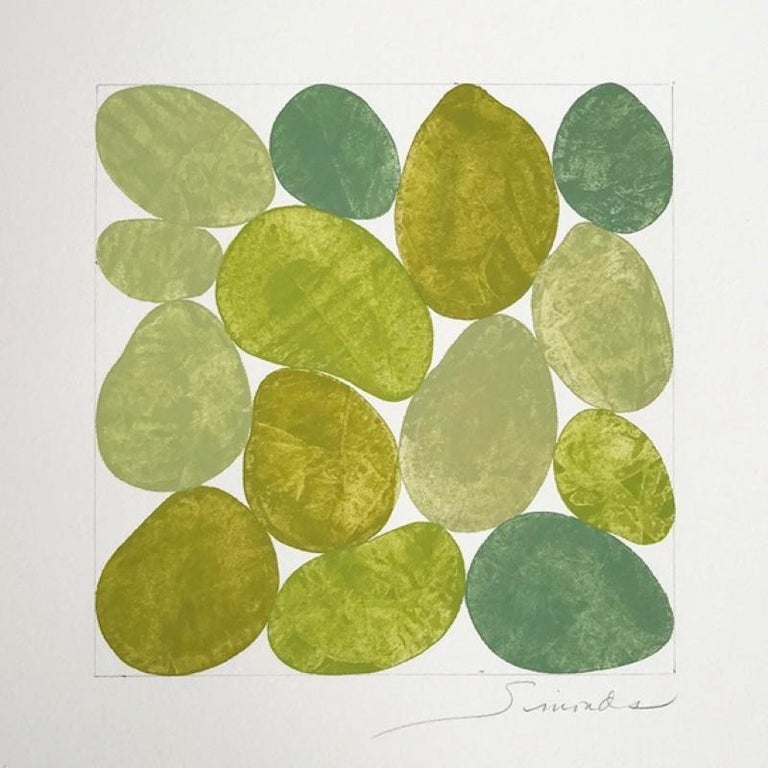 Nancy Simonds Abstract Painting - Spring Linden, Work on Paper, Gouache, Green, Framed, Calm, Square, Original Art