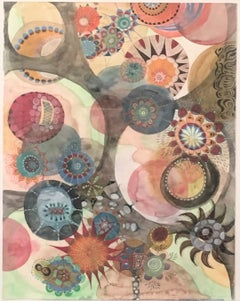 Watercolor 9,  Work on Paper, Colorful, Organic Shapes, Natural, Moving, Cosmos