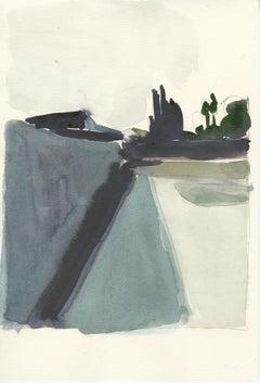 City Limits No. 4, watercolor, California, architecture, building, Industrial