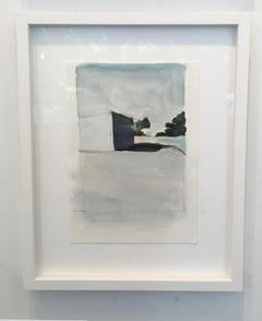 City Limits No. 6, watercolor, California, architecture, building, Framed, blue