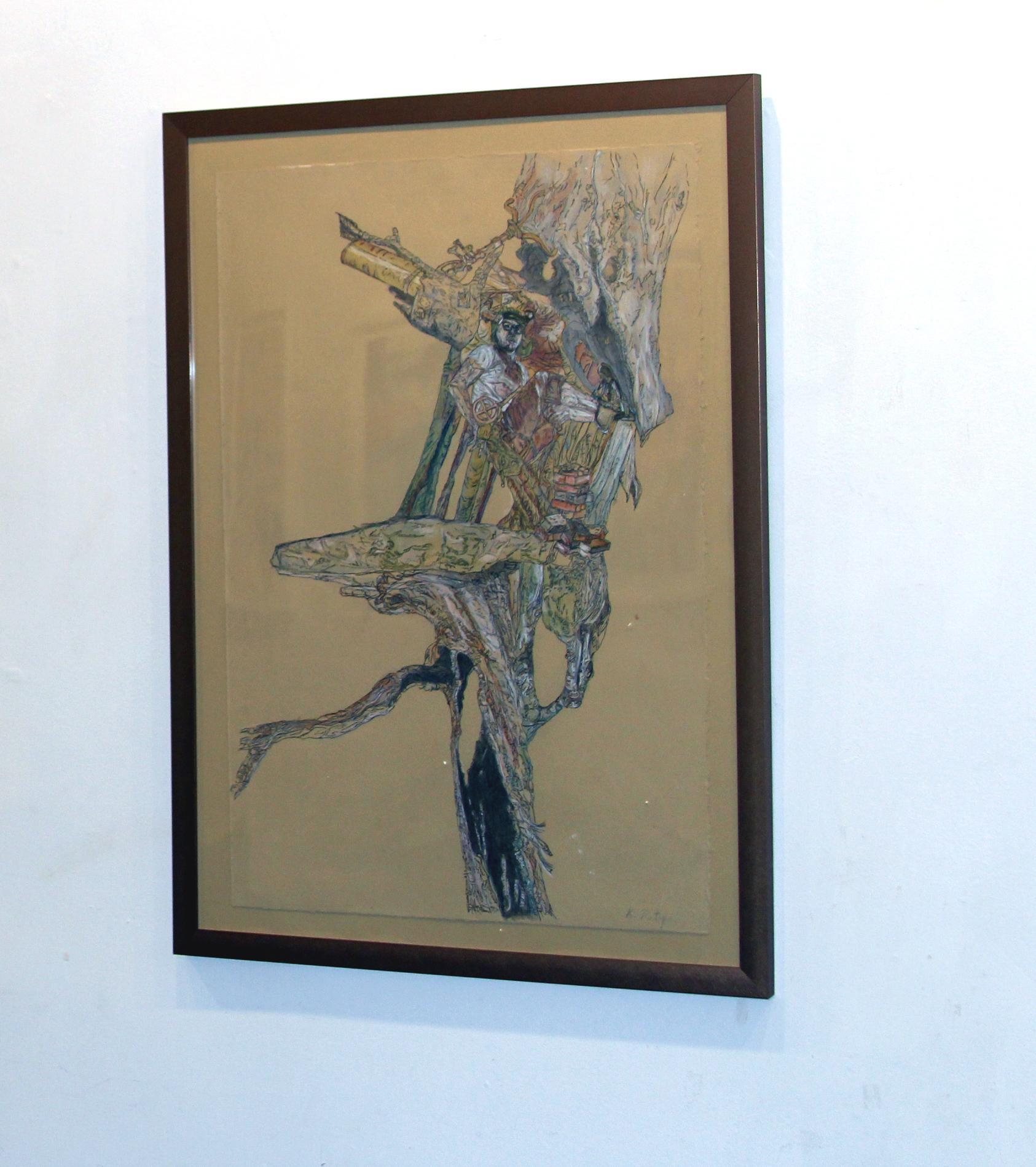 Explorer, Figurative, Drawing, Inventor, Illustration, Tree, Male Figure