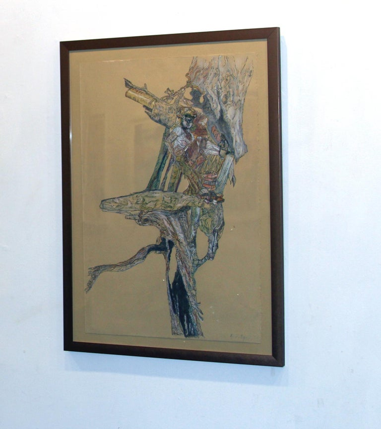 Krzysztof Pastuszka Figurative Painting - Explorer, Figurative, Drawing, Inventor, Illustration, Tree, Male Figure