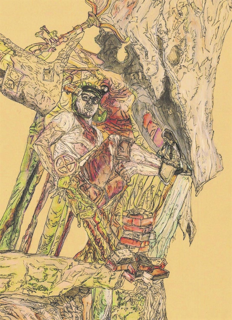 Explorer, Figurative, Drawing, Inventor, Illustration, Tree, Male Figure - Contemporary Painting by Krzysztof Pastuszka