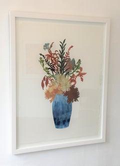 Big Blooms No 7, Botanical Artwork, Blue, Collage, Work on Paper, Floral, Framed