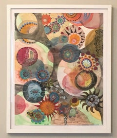 Watercolor 7, Work on Paper, Framed, Brown, Orange, Red, Blue, Magical