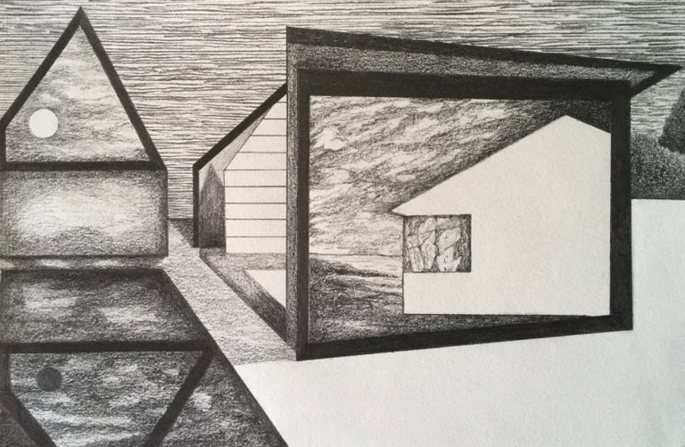 James Isherwood Landscape Art - Whisper, graphite on paper, 5.25 x 8.125 inches. Architectural forms