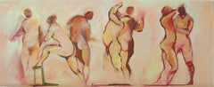 "Ellas (Female for ""them""), nude women dancing, oil painting on paper"