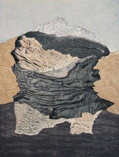 Black & White, neutral monoprint on paper, mountainscape