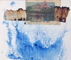 A Rocky Interpretation, mixed media collage on paper, blue