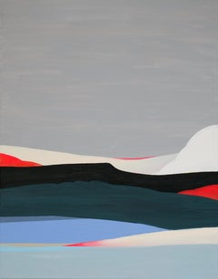 Cliff, minimal painting on canvas of mountain-scape