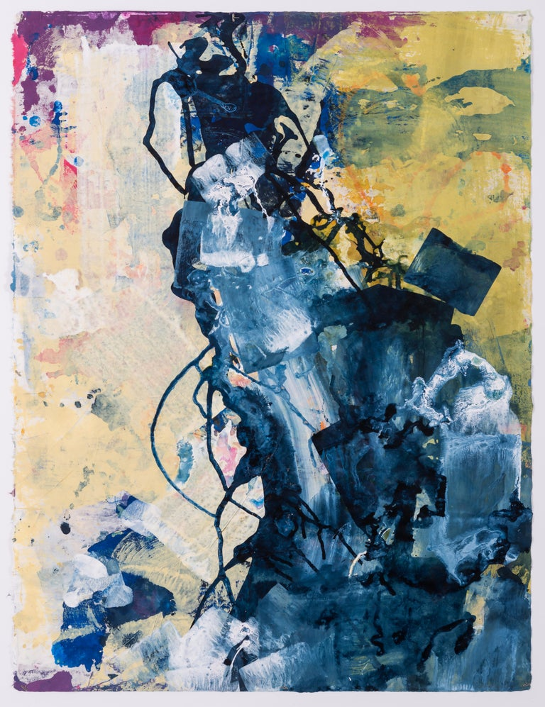 Naomi Schlinke Landscape Painting - Plunge, abstract ink on paper painting, navy and yellow