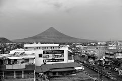 Mayon Volcano, black and white photograph of volcano