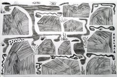 Rockscape, small abstracted work on paper, black and white