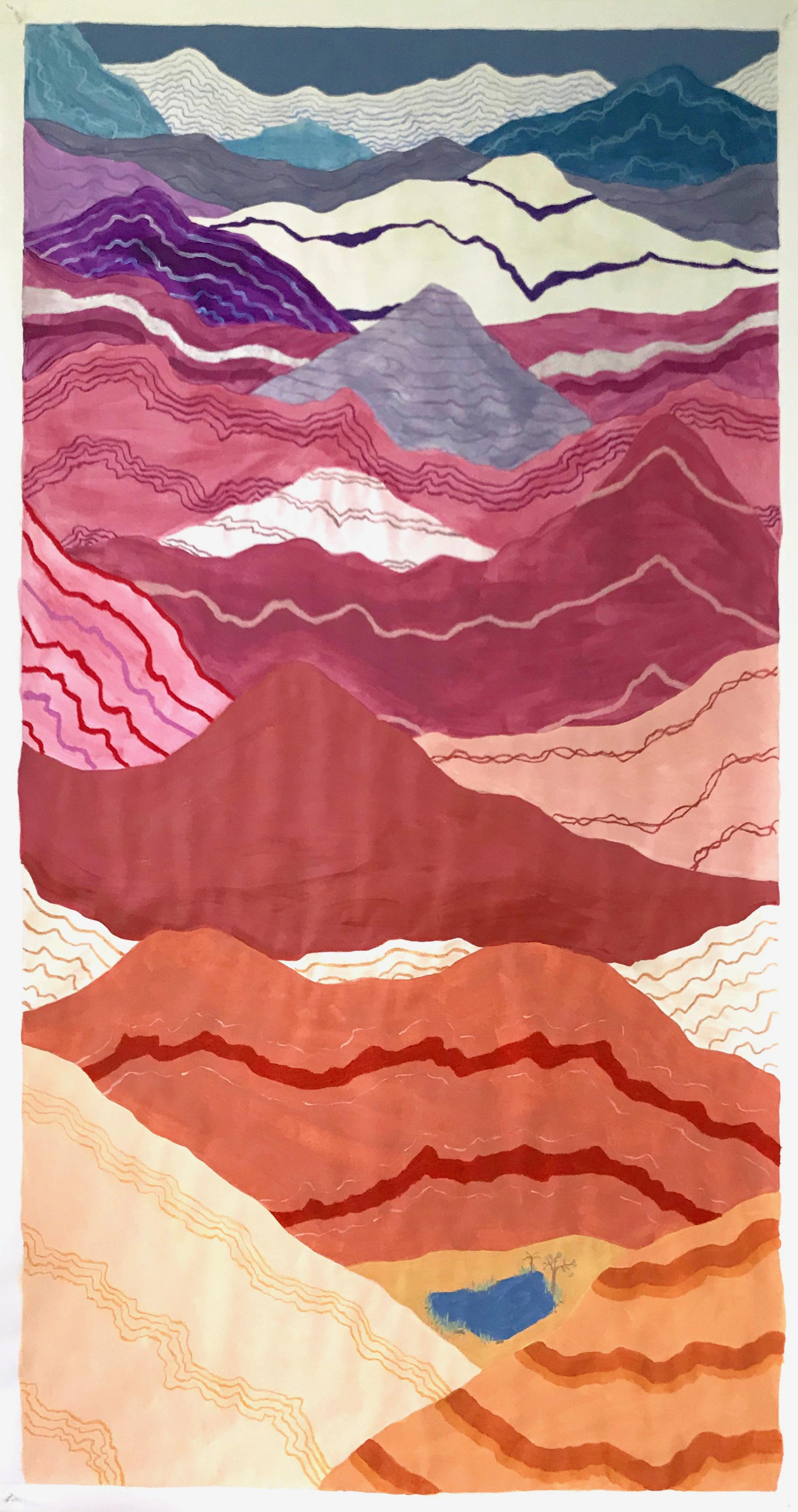 An August Oasis, mixed media mountain-scape on paper