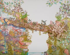 Nurse Log Bridge, colorful forest scene, mixed media on canvas