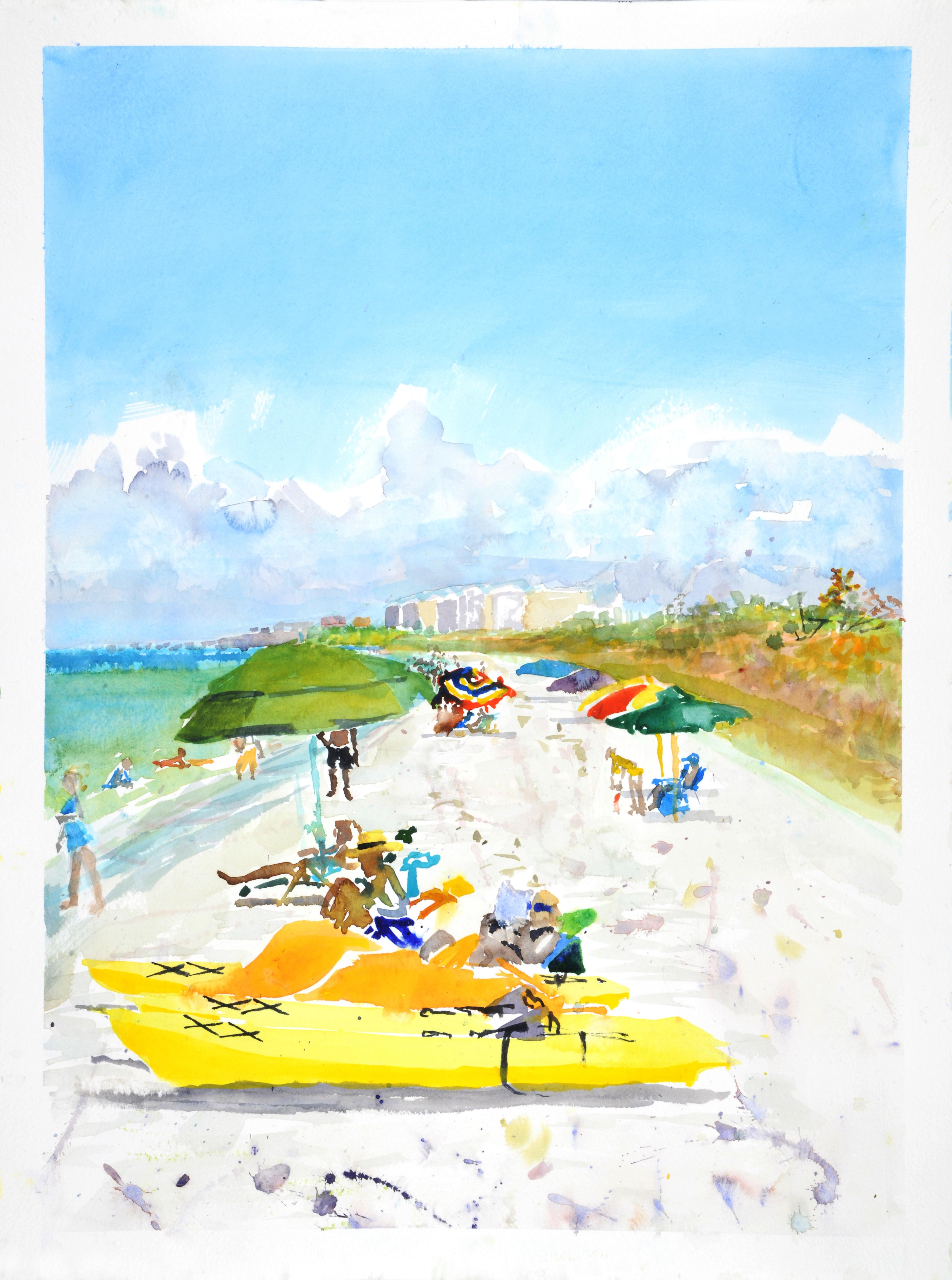 Barefoot Beach, Naples 2, bright watercolor beach scene, work on paper