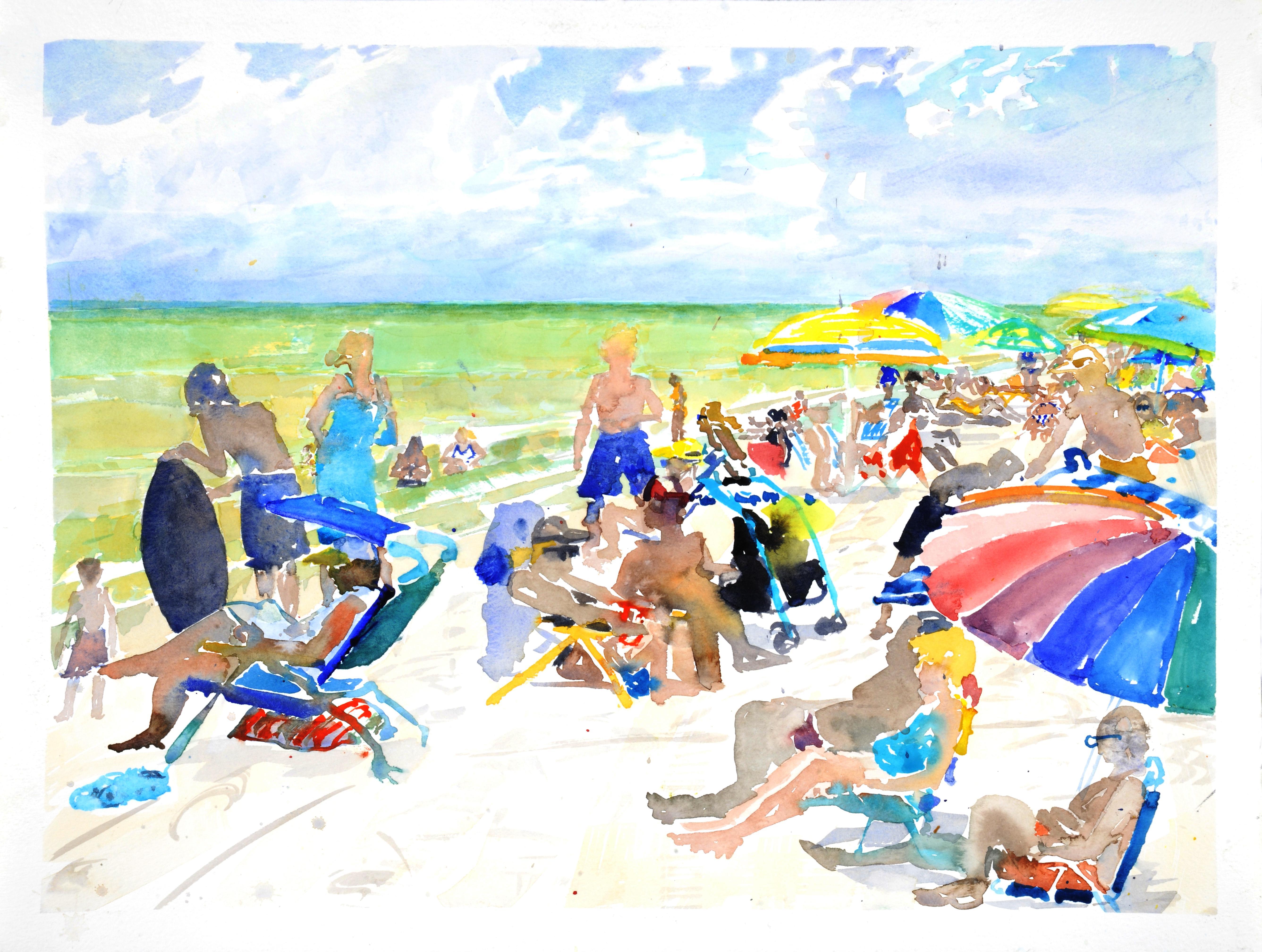 Vanderbilt Beach, Naples, bright watercolor beach scene, work on paper