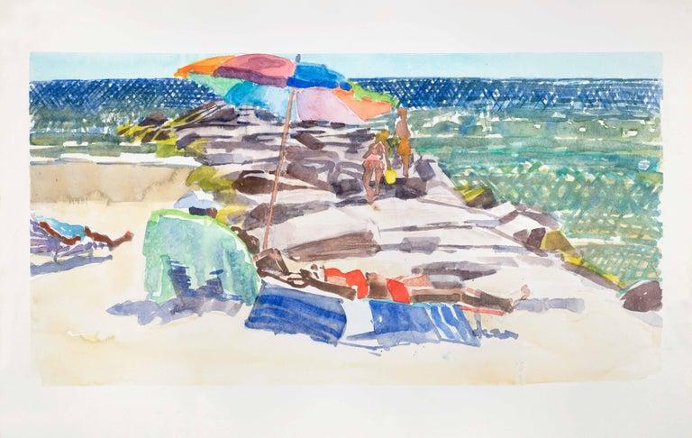 Steve Singer Landscape Art - Long Beach Jetty 2, bright watercolor beach scene, work on paper