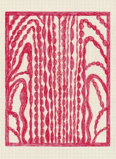 In the North Woods, abstract geometric pattern, red work on paper