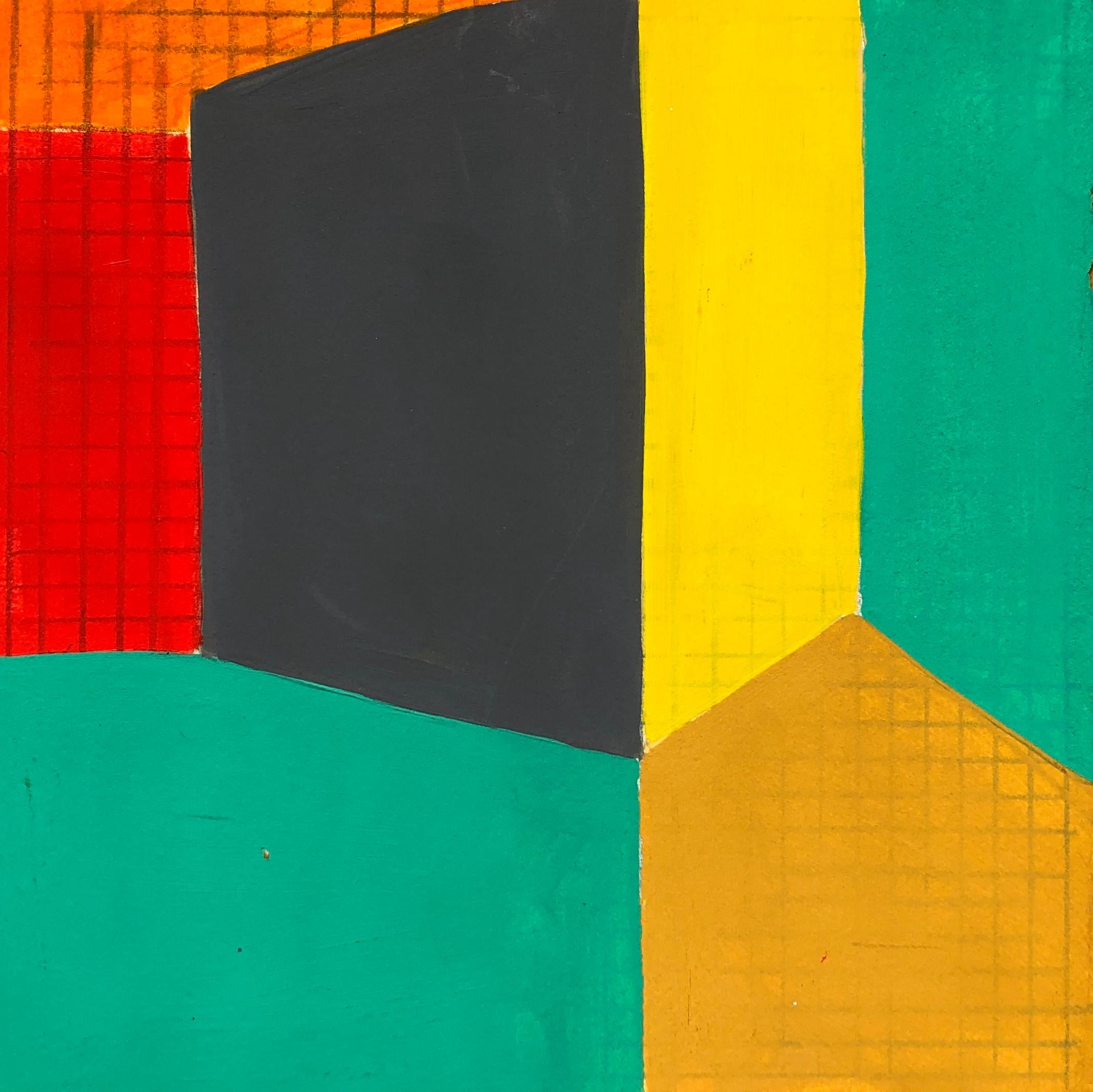 B1, abstract geometric pattern, mixed media on paper, green, yellow and red