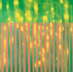 Dandelion, green, pink and yellow abstract oil painting on wood panel