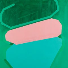 Sprinkler, green and pink abstract oil painting on wood panel