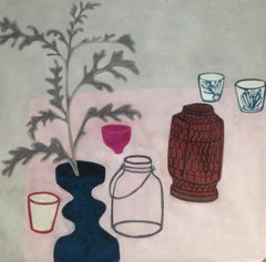 Pink Pot, interior still life scene with plants, pink work on paper