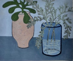 Cool Thursday, interior still life scene, blue work on paper with plants