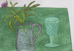 One Peony, interior still life scene, green work on paper