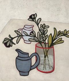 Two Jugs, interior still life on paper, green plants in vase, red jug