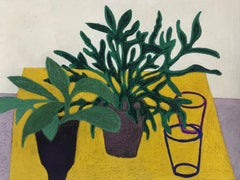 Green Days, interior still life with plants, green and yellow