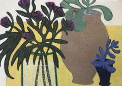 Blue Plant, still life with plants in vases, work on paper