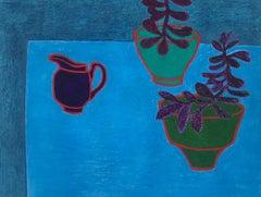 Delft, bright blue still life, plants in pots and vases
