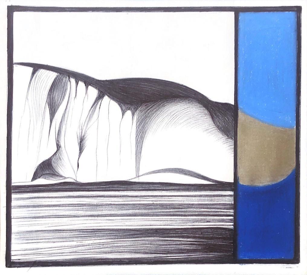 Coast, mixed media work on paper, blue