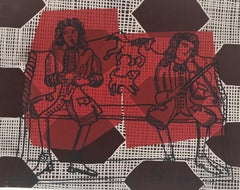 Pew Musicians, red work on paper with dog and horse