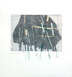 Behind Bars No. 1, abstract mixed media on paper, grey