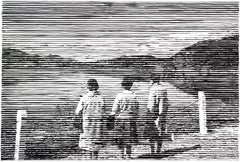 Three Women, black and white work on paper, landscape