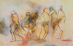 Escape, female dancers in motion, tan mixed media on paper