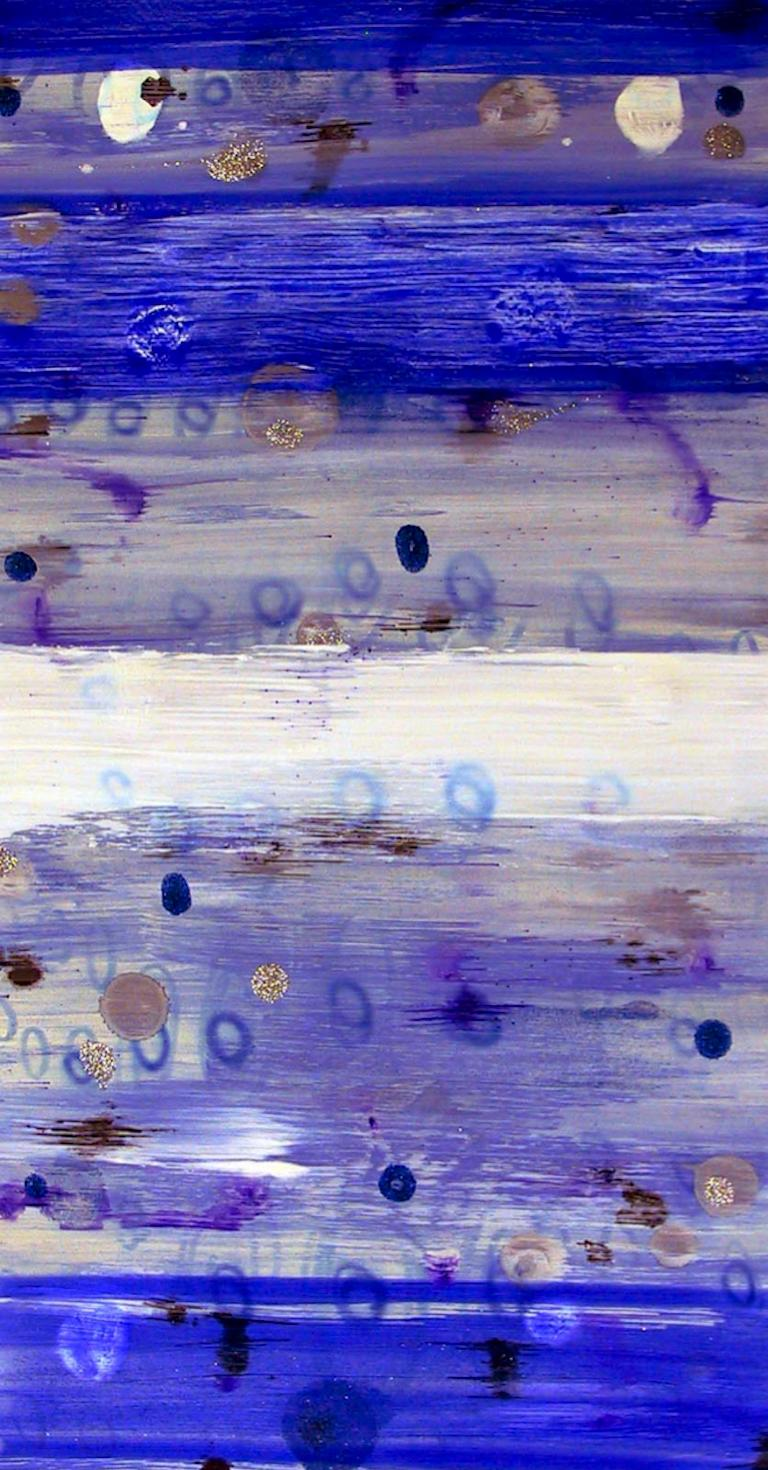 #41, bright blue mixed media on paper, geometric pattern - Mixed Media Art by Coco Liggett
