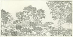Landscape No. 1, intricate etching of a forest on paper