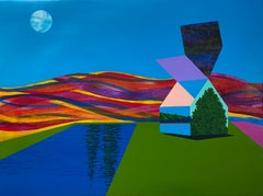 New Understanding, bright, multicolored surreal landscape on paper