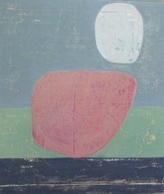 Rock 188: Moonlight Sonata, pink pastel abstract oil painting