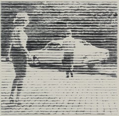 The First and Last Date, black and white work on paper of young man and woman